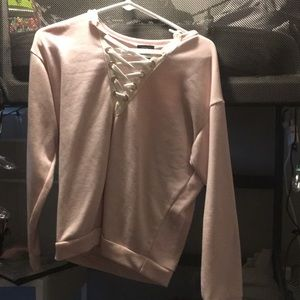 Rue 21 V-neck lace up sweater